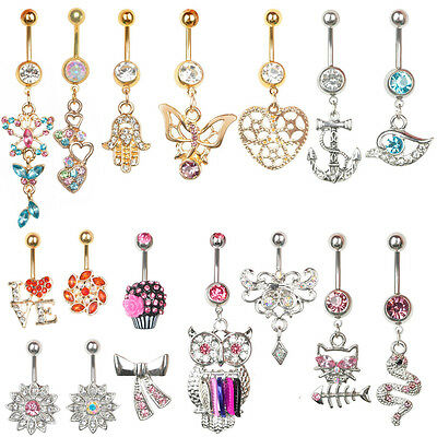 Belly Button Rings Dangle Crystal Rhinestone Navel Bar Body Piercing Jewelry TOP