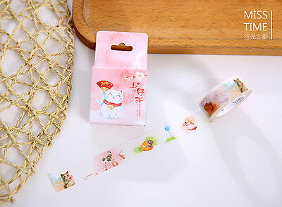 Japan Plutus cat fish Washi paper Masking Tape stickers Scrapbook label Decal