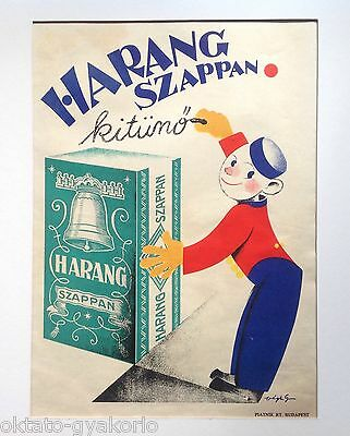 """Original 1929 Hungarian Advertising Poster: """"harang Soap Is Excellent"""" # 3"""