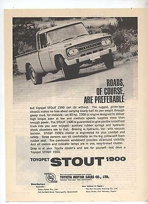 Toyota Toyopet Stout Truck Original Advertisement removed from a Magazine