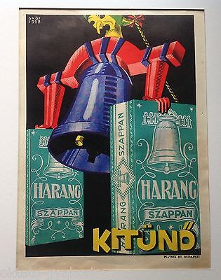 """Original 1929 Hungarian Advertising Poster: """"harang Soap Is Excellent"""" # 2"""