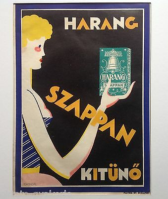 """Original 1929 Hungarian Advertising Poster: """"harang Soap Is Excellent"""" # 1"""