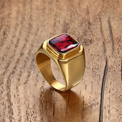 HUCHE Red Sapphire Ruby Titanium Steel 18K Gold Filled Mens Class Band Rings NEW
