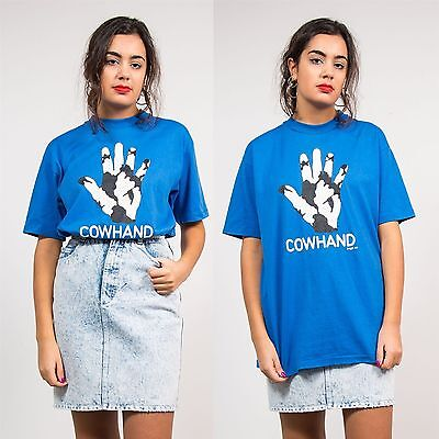 Womens Vintage Blue 90S Cowhand Patterned T-Shirt Crew Neck Oversize Fit 14 16
