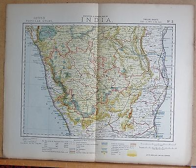 1883  Antique Map India, Mysore, Malabar