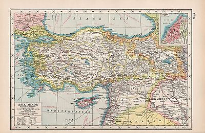 1920 Map -Post Ww1- Asia Minor,mosul Damascus Bagdad, Inset Smyrna
