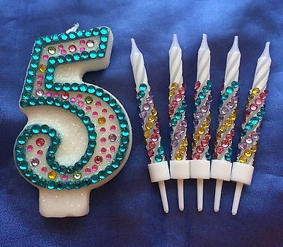 Birthday Candle Diamante Set Party Cake Topper Any Number Multicolour Bling