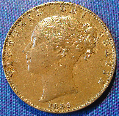 1839 ¼d Victoria Young Head Farthing - 2 prong trident variety, high grade