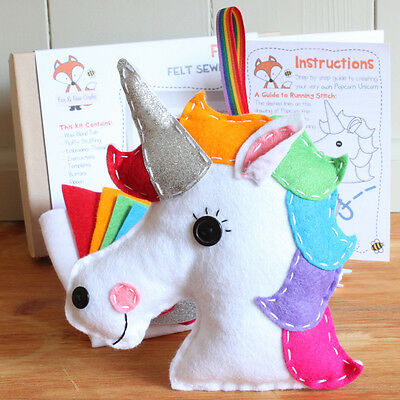Popcorn the Unicorn Craft Kit Sewing Kit - Includes everything you need DIY