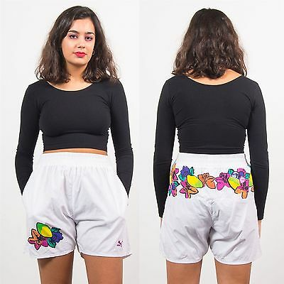 Womens Vintage 90's Puma Floral Pattern High Waist Shorts Tennis Style Retro 12