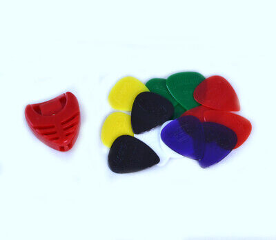 14 x HARD NYLON GUITAR PICKS & FREE PLECTRUM HOLDER gauge grip acoustic electric