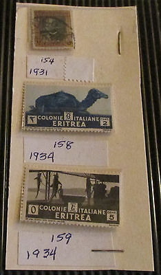 Postage Stamps Eritrea:  Lot of 3 Mint/Used Stamps Dated 1931-1934