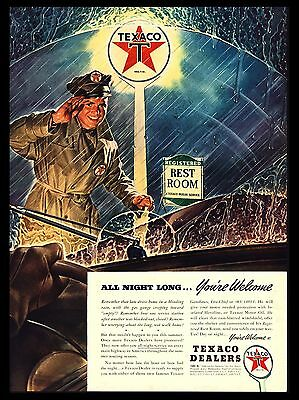 "Original 1941 ""texaco Dealers"" Service Station Attendant Rainy Nite Art Print Ad"