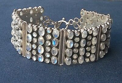 AMAZING quality SOLID 925 Sterling silver HEAVY MOONSTONE WIDE cuff BRACELET 8/9