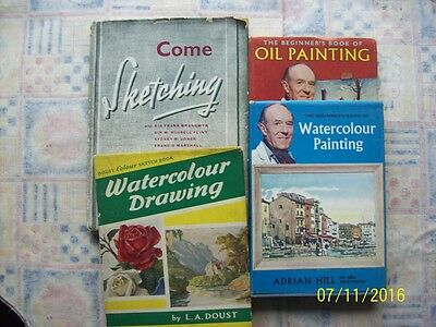 4 Art books watercolours sketching