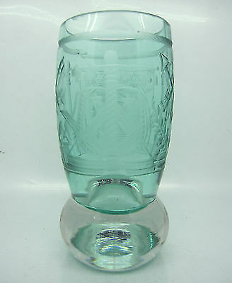 Old Masonic  Hand Carved Glass Cup