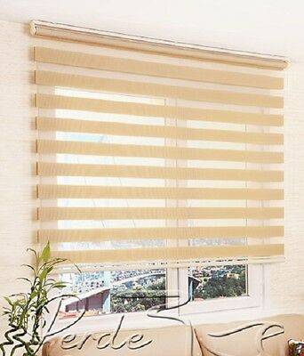 L. Brown Double Day / Night Roller Window Blinds Zebra Curtain & Custom Sizes !