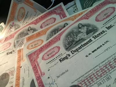 6 Old Stock Certificates King's Department Store