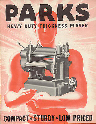 Parks Heavy Duty Thickness Planer Bulletin & 1939 price List