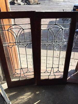Sg 1167 Match Pair Antique Leaded Glass Cabinet Doors 32 X 36
