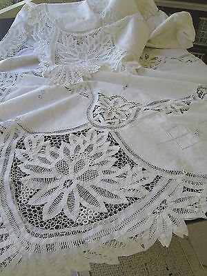 EXQUISITE VINTAGE LARGE TABLECLOTH  HAND EMBROIDERY BRUSSELS TAPE LACE .108 x 96