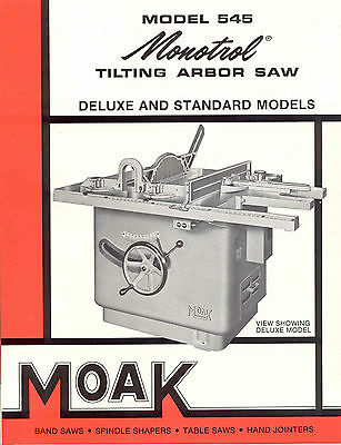 Moak Machine and Foundry Co. Model 545 Tilting Arbor Saw Brochure