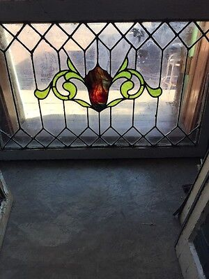 Sg 1170 Antique Stainglass Leaded Glass Transom Window 26 X 40.5