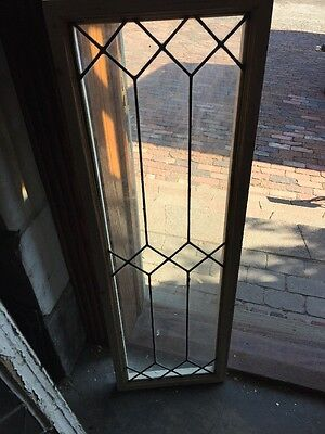 "Sg 1174 Antique Leaded Glass Transom Window 14"" X 44"""