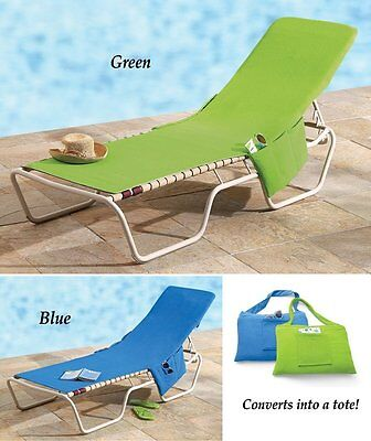 Beach Lounge Chair Cover Towel With Fitted Pocket Top and Side, Blue