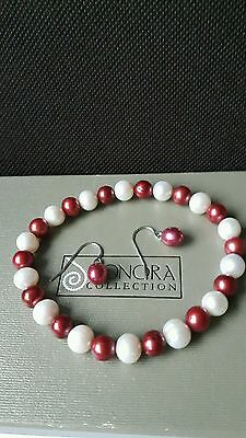 Honora Sterling Silver, Red Pearl Earrings, And Red And White Pearl Bracelet.