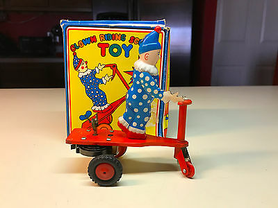 Old Vtg #1 Tin Litho Wind Up Scooter Riding Clown Toy With Original Box Beijing