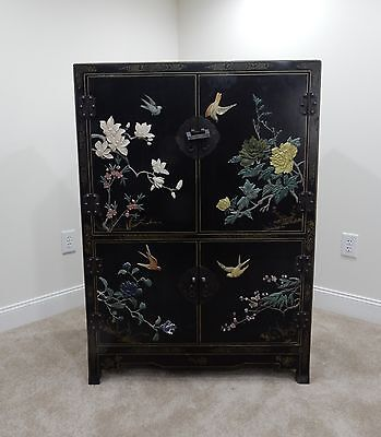 Hand Painted Wooden Chinese  Black Lacquered Cabinet with Soapstone Figures 48 ""