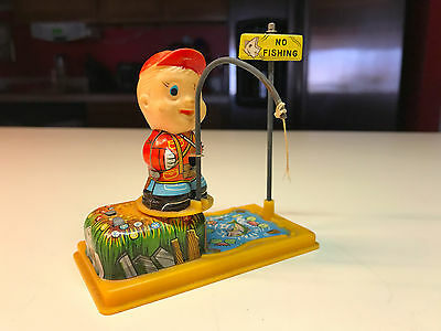 """Old Vtg Yome #2104 Fishing Boy Wind Up Toy """"No Fishing"""" Made In Japan"""