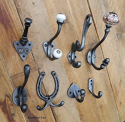 Antique Vintage Style Cast Iron Coat Hooks -Choice Of Design & Size x 1 Hook