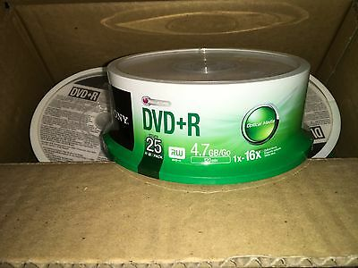 Sony 25DPR47SP DVD+R 4.7GB 16X Recordable DVD 25-Pack Spindle Free Shipping New