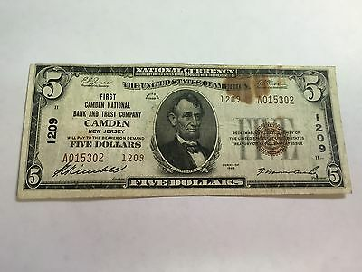 Series 1929 $5 Camden Nj National Currency Note Charter #1209