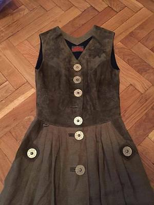 Thalbauer Trachten Austrian dress suede leather brown embroidery edelweiss Sz 36