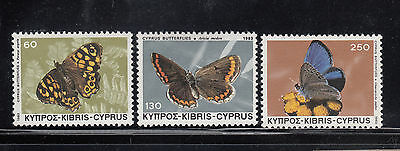 CYPRUS 1983 Butterflies Sc 597-599 Complete Mint Never Hinged