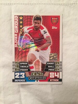 Signed Olivier Giroud Match Attax Card With Hologram 2014/2015