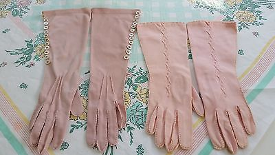 Vintage Dressy Gloves Long Style Pink Size 6 - 6 1/2 Embroidery & Buttons Shabby