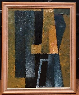 Vintage Mid Century Abstract Expressionist Oil Painting Cubist