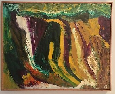Vintage Mid Century Danish Abstract Expressionist Oil Painting Signed