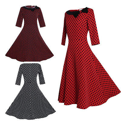 2017 Women 50s Rockabilly Vintage Bowknot Polka Dot Swing Evening Party Dress UK