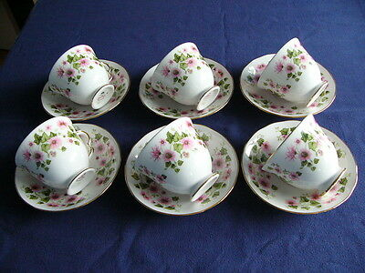 6 x Pretty Vintage Queen Anne Bone China Pink Floral Cups and Saucers