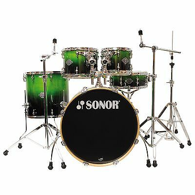 Sonor Essential Force SEF 3 Studio Green Fade 5 pc DrumSet w/ Hardware Blowout!