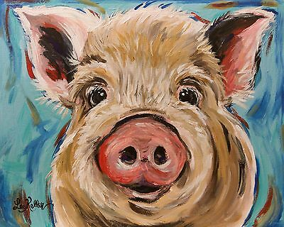Pig Print from original canvas pig painting 8x10, signed by artist