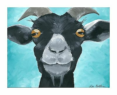 """Goat Print from original canvas goat painting 8x10,""""Wilie"""" signed by artist"""