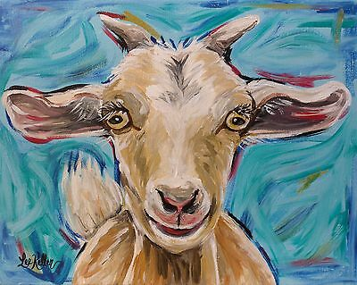 """Goat Print from original canvas goat painting 8x10,""""Buttercup"""" signed by artist"""
