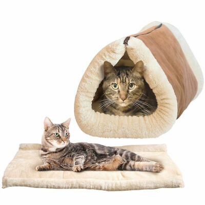 90cm 2in1 Thermal Tunnel Cat Mat/Pet Fleece Bed Lounge Play Warm Snuggle/Dog
