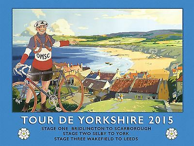 Vintage Style Metal Sign Tour De Yorkshire 2015 Cycling Retro Scarborough Leeds